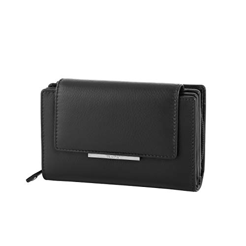 Rada Geldbörse für Damen | 14 Kreditkartenfächer | 6 extra Steckfächer | geteilstes Münzfach | Modisches Portemonnaie aus Kunstleder (schwarz)