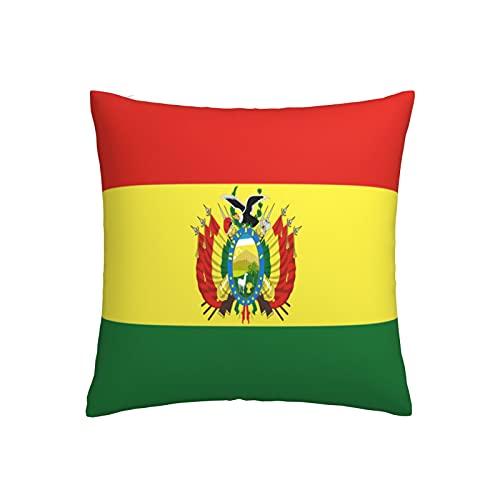Kissenbezug mit Flagge von Bolivien, quadratisch, dekorativer Kissenbezug für Sofa, Couch, Zuhause, Schlafzimmer, drinnen & draußen, 45,7 x 45,7 cm