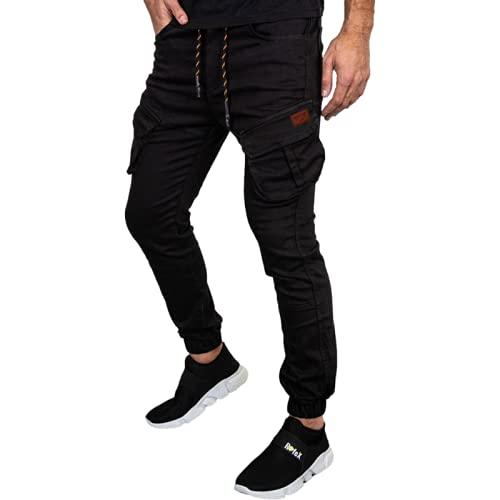 Huntrly Pantaloni da Jogging da Uomo Pantaloni Casual da Allenamento Multitasche in Tinta Unita semplici da Corsa Pantaloni Sportivi da Allenamento all'aperto M
