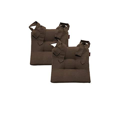 Stuhlkissen Sitzkissen Schleifenband Auflage Polster Stuhl Stuhlauflage Rattanstühle extra dick Esszimmerstühle 2er Set, Farbe:Magma_braun_070