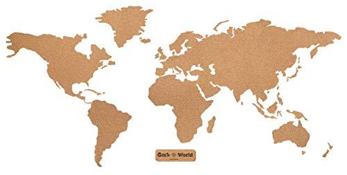 Weltkarte Kork XXL 210 x 105 cm | Umrisse Welt zum Pinnen und als Wanddeko| Tolle CORKWORLD Pinnwand | Detailgenau & Hochwertig | Für Weltenbummler & Vielreisende – Kork