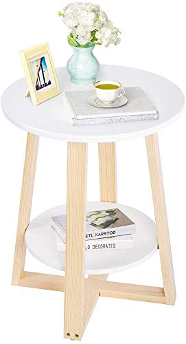 Greensen Round Side Table 2 Tiers Bedside Table with Storage Space Modern Telephone Table Wood Coffee Table Sofa Table Small for Living Room Bedroom Garden White 40 × 40 × 50.5 cm