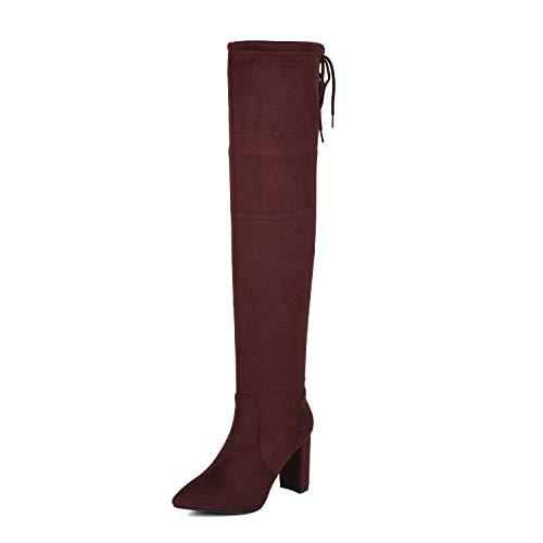 DREAM PAIRS Women's Burgundy Thigh High Chunky Heel Stretch Over The Knee Boots Size 9 B(M) US Natasha-1