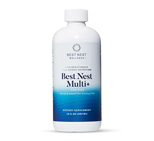 Best Nest Multi+ for Kids, Liquid Multivitamin, Methylfolate (Folic Acid), Methylcobalamin, Complete, Natural Whole Food Blend, Prebiotics, Immune Support, 16 oz, Best Nest Wellness