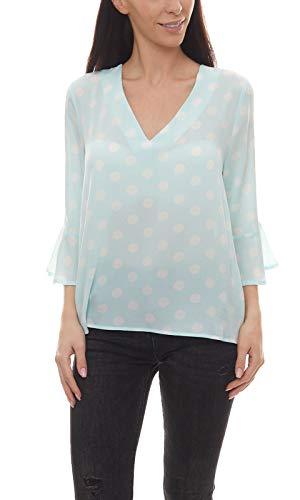 vivance Collection Schlupf-Bluse Gepunktete Damen Vokuhila-Bluse mit 3/4-Arm Tunika Sommer-Bluse Blau/Weiß, Größe:40