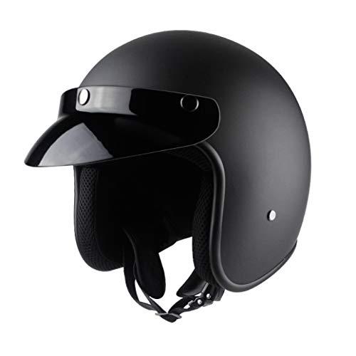 OLEEKA Casco sintético de cuero artificial para motocicleta Retro Vintage Cruiser Chopper Scooter Cafe Racer Moto Helmet 3/11 Casco de cara abierta DOT