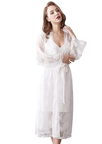 FyoFya Kimono Albornoz Camisones para Mujer 2-in-1 Batas y Kimonos Satín Mangas largas Camisón Robe Albornoz Dama de Honor Ropa de Dormir Pijama, para Fiesta SPA Hotel Sauna con Cinturón (Blanco)