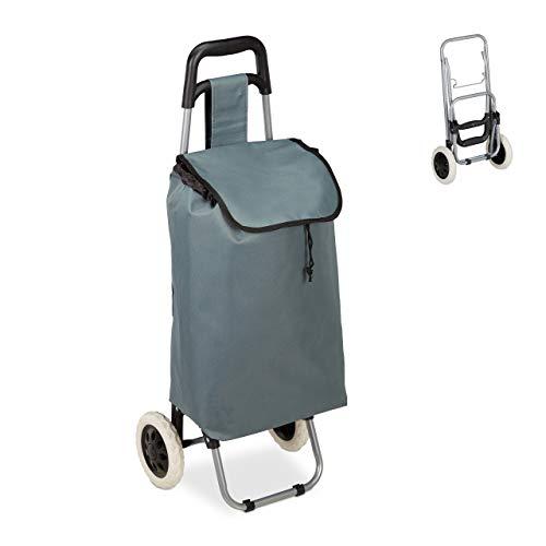 Relaxdays Einkaufstrolley, klappbar, 25 L Einkaufstasche mit Rollen, bis 10 kg belastbar, HBT: 91 x 40 x 30 cm, grau