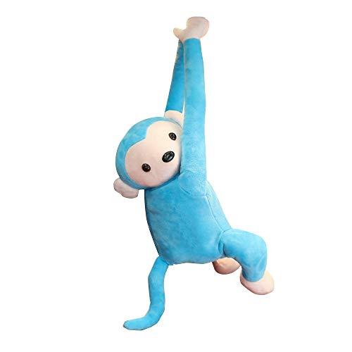LIDEBLUE - Caja de pañuelos con diseño de mono de peluche, para colgar servilletas de papel, caja organizadora, bonita muñeca para el hogar, oficina, hogar y coche 52 * 35 cm azul