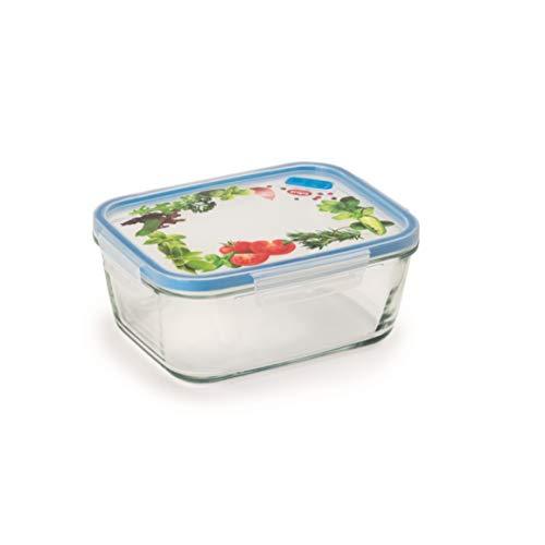 Snips Lock Glass-Contentitore Rettangolare in Vetro per Alimenti da 1,50 LT Contenitore, Trasparente con Decoro