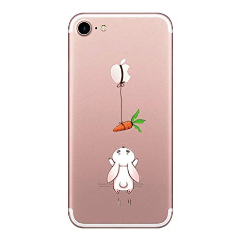 Caler Coque Compatible/Remplacement pour iPhone 7/iPhone 8 4.7'',Transparent Silicone TPU Souple Mignon Design Etui Case,Ultra Mince Anti-Choc Protection Housse Cover,Carotte Lapin 2