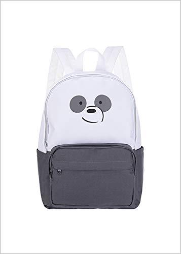 Mochila Panda, Urso sem Curso/We Bare Bears. Cor Branco. Composição: poliéster