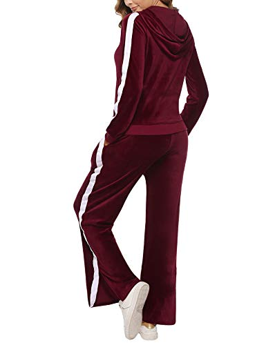 Aibrou Womens Velour Tracksuit 2 Piece Long Sleeve Sweatsuit Top and Bottom Casual Loungewear Joggers Pajamas Sets Wine Red