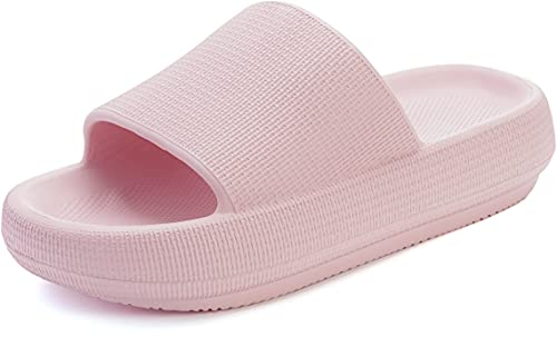 BRONAX Womens House Slippers for Women Extra Thick Non-Slip Bath Bathroom Home Cloud Cushion Slides Open Toe Thick Sole Platform House Sandals for Ladies Pink