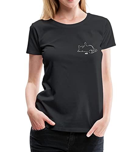 Katze Nö Neinsager Mittelfinger Katzenfreund Frauen Premium T-Shirt, 3XL, Schwarz