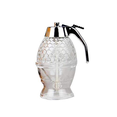 DAN 200ML transparenter Honigtropfenspender Küchensaft Sirupbehälter Jar Pot Honigspender Nützliche Küchenutensilien, transparent