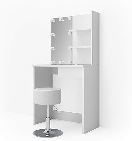 Vicco LED Schminktisch Dekos Frisiertisch Kommode Frisierkommode Schminkkommode mit Beleuchtung und Hocker