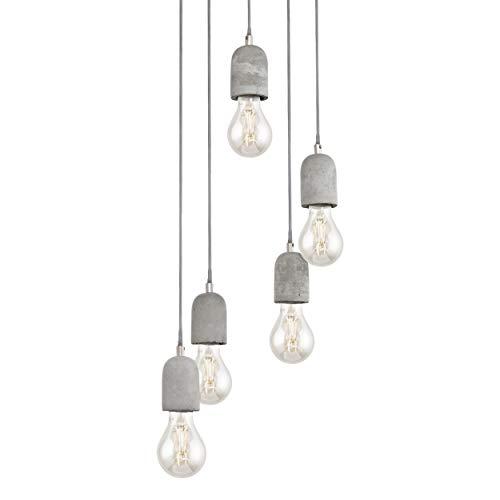 EGLO Pendelleuchte Silvares, 5 flammige Hängelampe Vintage, Industrial, Hängeleuchte aus Stahl und Beton in grau, Esstischlampe, Wohnzimmerlampe hängend mit E27 Fassung