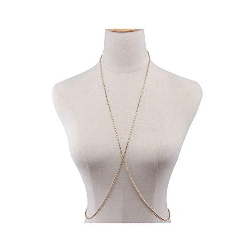 LCHB Women's Fashion Geometric Chest Chain (Color : Gold)