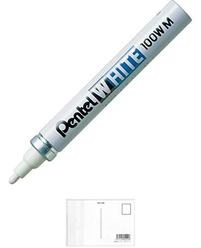 ぺんてる 油性ペン ホワイト 中字 白インキ X100W-MD + 画材屋ドットコム ポストカードA