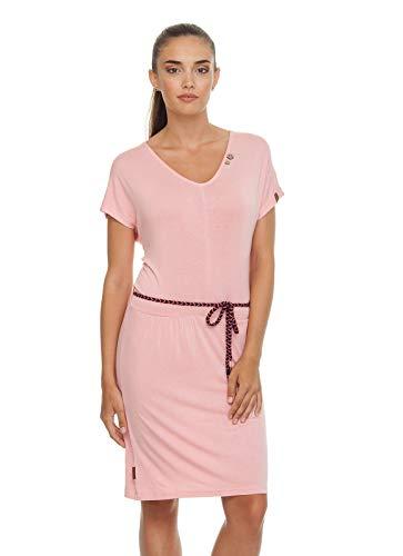 Ragwear LASY Damen,Kleid,Sommerkleid,Kurze Ärmel,vegan,V-Ausschnitt,elastisch,Taillengürtel,Pink,XS