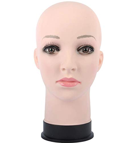 PVC Mannequin Manikin Head Stand for Wig Toupee Display Styling and Make Up Training Model Eyelash Extension (flesh color)