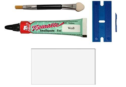 Weißes Emaille Paste/Lack Reparaturset für Bad, Fliesen, Keramik, Autolack, Fahrrad, Holz, Laminat uvm. im praktischen Set mit 8 ml Elefant Emaille, Kunststoffspachtel & Pinsel von MY-B-Style