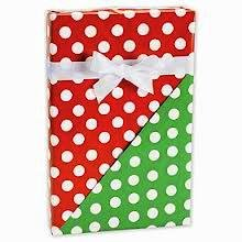 Reversible RED & GREEN POLKA DOTS Gift Wrap Wrapping Paper - 16ft Roll