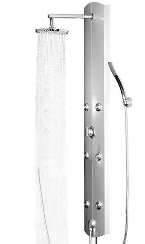 LED Sanlingo Colonna Doccia a Pioggia Massaggi Idromassaggio Alluminio 3 Colors, Choice:Silver - connection to tap