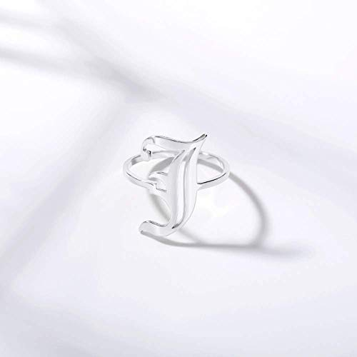 Zaaqio Open Rings For Women, Unisex Adjustable Stainless Steel Ring Alt Initial Letter J Alphabet Silver Ring Jewelry Accessory For Anniversary Celebration Birthday Gift