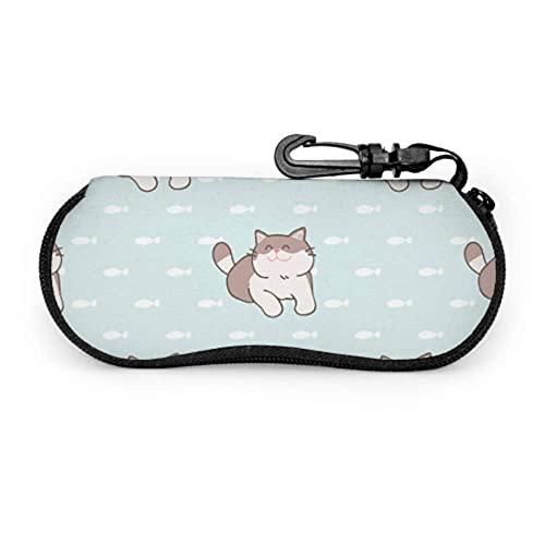 Estuche para gafas Cute Surprise Warm Animal Pet Cat Art Estuche para gafas de sol Estuche para gafas de sol Estuche para viaje Estuche ligero portátil Estuche blando para anteojos, 17x8cm