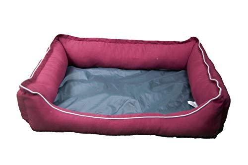 Palets Talavera SL  - Cama para Perros y Gatos, Sofá para Perros/Gatos, Cesta para Perros/Gatos con Cojín de Color Granate Extraíble - Medida: 65 * 50 * 23 cm (M)