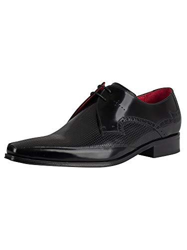 Jeffery West de los Hombres Zapatos de Cuero Pulido, Negro