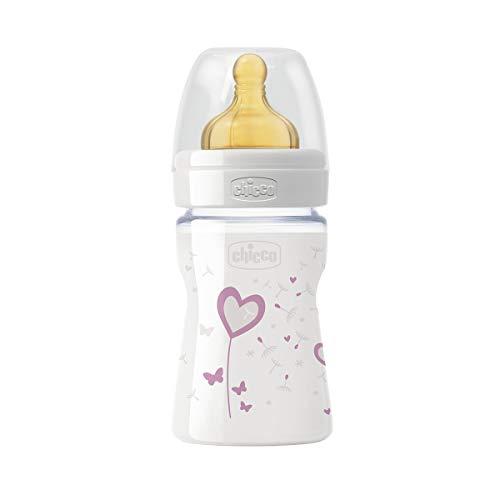 Chicco Wellbeing - Biberón de vidrio/cristal con tetina látex anti cólicos, flujo normal, 150 ml, bebés 0 m+, colorrosa