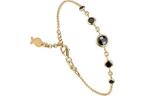 Clio Blue - Pulsera de cadena Taj Mahal de plata 925, oro de 18 K, cristal Swarovski negro, 2,6 g