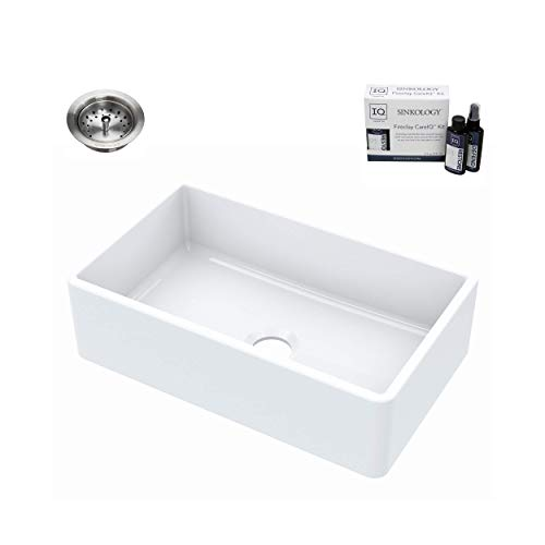 Sinkology SK404-30FC-B-IQ Turner Farmhouse 30 in. Single Bowl Crisp White with Drain and CareIQ Kit Fireclay Kitchen Sink