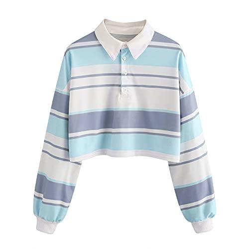 Zldhxyf Camiseta de manga larga para mujer, polo, sin vientre, blusa a rayas, jersey corto para adolescentes y niñas, azul celeste, L