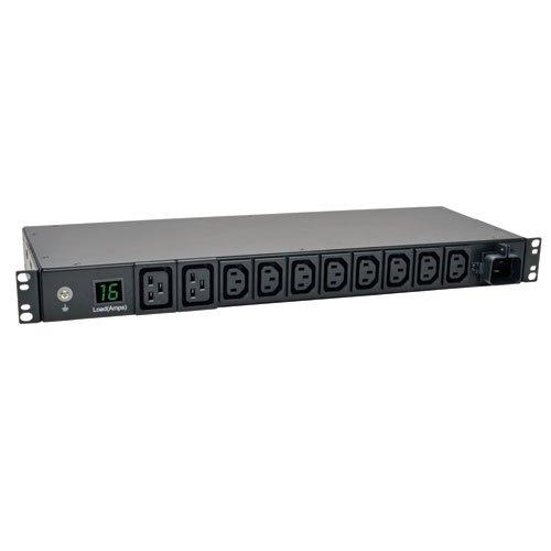 Tripp Lite PDOM16HV - 3,8-kW- 1-fasige meetweergave-PDU, 200/220/230/240 V, stopcontacten (8x C13, 2x C19), IEC-309 16 A blauw, 2,4 m kabel, 1-HE rekmontage