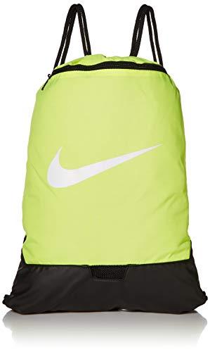 Nike Brasilia Training Gymsack, Drawstring Backpack with Zipper Pocket and Reinforced Bottom, Volt/Volt/Black