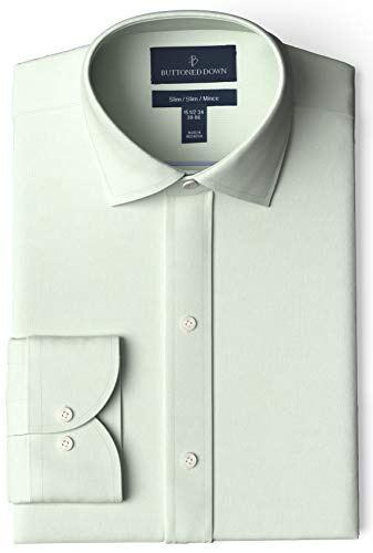 "Amazon Brand - Buttoned Down Men's Slim-Fit Spread Collar Pinpoint Non-Iron Dress Shirt, Light Green, 16.5"" Neck 35"" Sleeve"