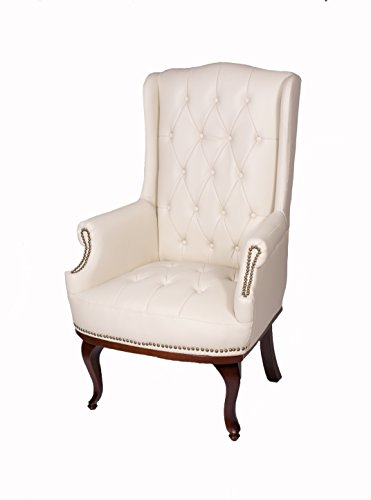 Chesterfield Style Leather High back Winged Fireside Armchair Chair Orthopedic (Cream)