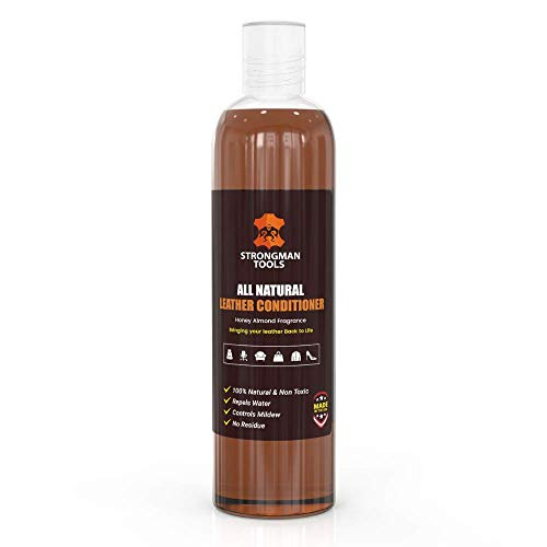 Strongman Tools USA  100% All Natural 2in1 Leather Conditioner and Cleaner  Restore and Repair Furniture, Cars, Apparel, Shoes, Bags and Accessories   Non Toxic Made in The USA (8 Oz Bottle)