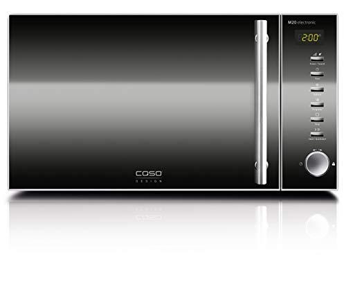 CASO | M20 electronic Mikrowelle | einfache Bedienung, Sound abstellbar, 20 L Garraum, 800 Watt, Drehteller Ø 24,5cm, Design Edelstahl, verspiegelt