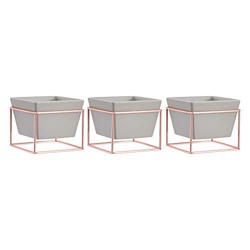 AmazonBasics Pflanztopf für den Tisch, quadratisch, Grau / Kupferfarben, 3 Stück