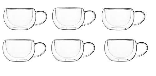 KADAX doppelwandige Glas Tasse, 280 ml, Kaffeeglas, Thermoglas für Tee, Kaffee, Cappuccino, Wasser, Espresso, EIS, Glas mit Griff, Kaffeetasse, Teeglas mit Schwebeeffekt (6)