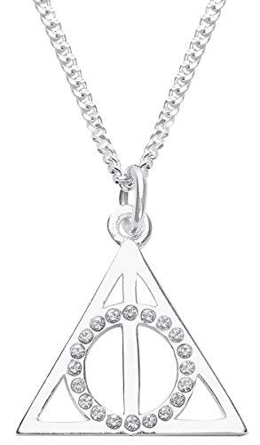 Harry Potter Heiligtümer des Todes Frauen Halskette silberfarben 925er Sterling Silber Fan-Merch, Film