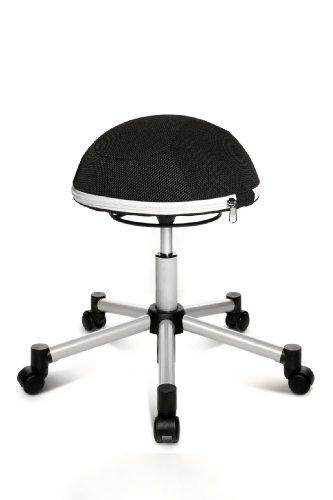 Topstar Sitness Half Ball, Fitness-Hocker, Arbeitshocker, Rollhocker, Dreidimensional bewegliche Sitzfläche, Stoffbezug, schwarz