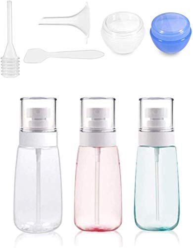 KongEU Klarer, feiner Nebel-Sprühflasche, Reise-Kunststoff, klein, nachfüllbar, transparent, tragbar, Multifunktions-Reiseflaschen-Set für Kosmetik, Make-up, Toilettenartikel., Travel Set