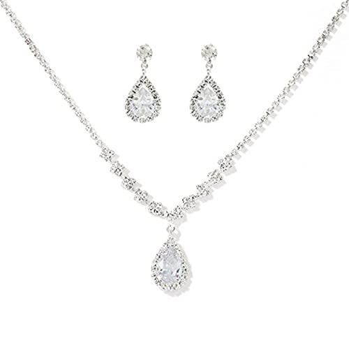 Ushiny Conjuntos de joyas de boda de plata de cristal nupcial collares y pendientes conjunto de gargantilla de diamantes de imitación para mujeres y niñas (463#)
