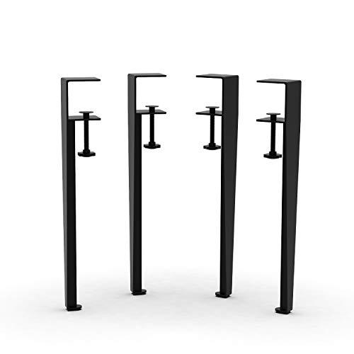 "Orgerphy 16"" Black Clamp Metal Table Legs (4PCS) | Heavy-Duty F-Shape Adjustable Table Clamp Legs | Rotatable Screws | Easy Install Mid Century Modern Metal Legs Desk Legs Furniture Legs for DIYers"